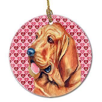 Carolines trésors LH9151CO1 Bloodhound Valentine amour et coeurs en céramique ou