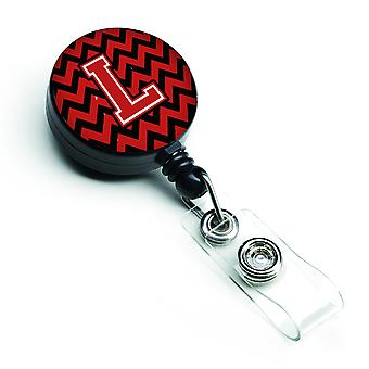 Letter L Chevron Black and Red   Retractable Badge Reel