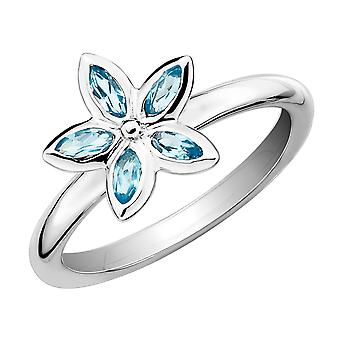 Natural Blue Topaz Flower Ring 2/5 Carat (ctw) in Sterling Silver