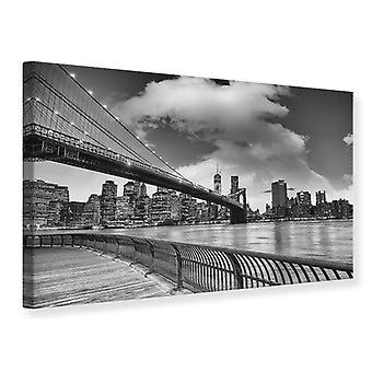 Kanvas Print Skyline sort og hvid fotografering Brooklyn Bridge nye