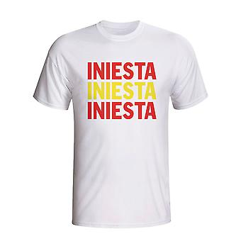 Andres Iniesta Hiszpanii Player Flaga T-shirt (biały)