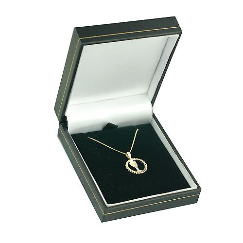 9ct Gold 15mm round First Communion Pendant with a curb Chain 16 inches Only Suitable for Children