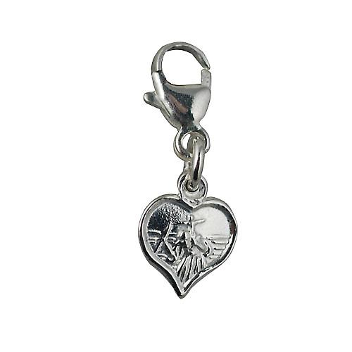 Silver 8mm heart St Christopher Charm on a lobster trigger