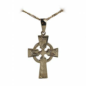 9ct Gold 35x24mm hand engraved knot pattern Celtic Cross with bail on a curb Chain 18 inches