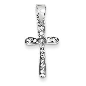 925 Sterling Silver White Synthetic Cubic Zirconia Jeweld Cross Charm Pendant