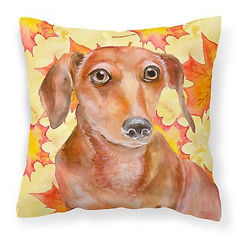Carolines Treasures  BB9968PW1414 Red Dachshund Fall Fabric Decorative Pillow