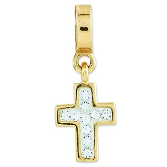 Sterling Silver Polished Gold-Flashed Reflections Crystal Cross Pendant Dangle Bea