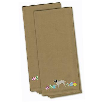 English Mastiff Easter Tan Embroidered Kitchen Towel Set of 2