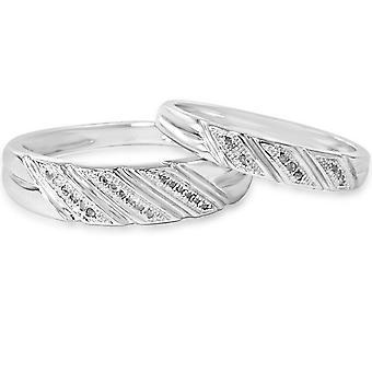 1/4ct His & Hers Diamond Ring Set 10K White Gold