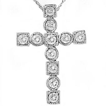 1ct Religious Diamond Cross Fancy 14K New Pendant White Gold