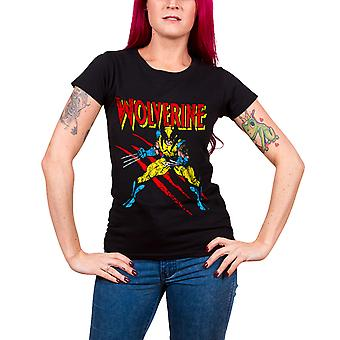 Marvel Comics T Shirt Wolverine Scratches new Official Womens Skinny Fit Black