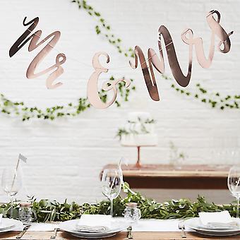 Mr & Mrs Rose Gold Bunting Backdrop - Botanical Boho Wedding Decoration 1.5m
