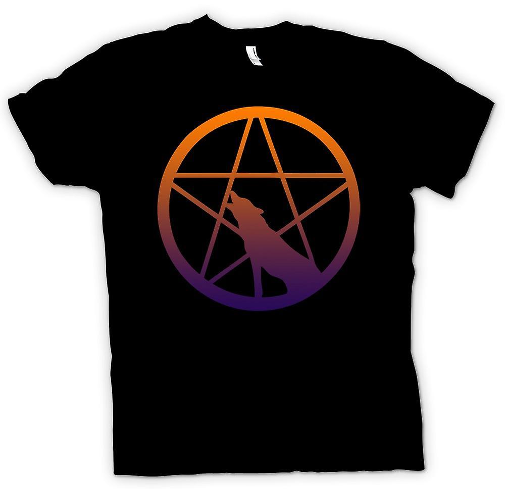 Kids T-shirt-Wolf Howling Pentagram