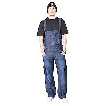 Peviani Harbour Dungarees with Turn Up Mens Womens Denim Dungarees Bib Overalls