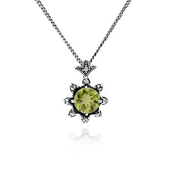 Gemondo Sterling Silver Peridot & Marcasite August Art Deco 42cm Necklace