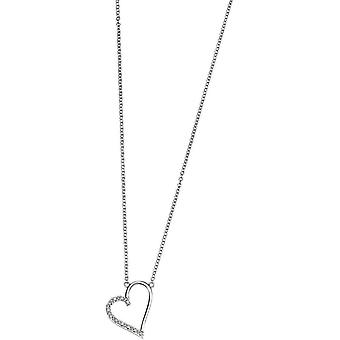 Elements Gold Exquisite 9ct White Gold Diamond Open Heart Pendant - Clear/White Gold