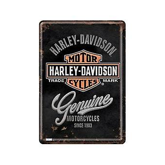 Harley Davidson métal véritable carte postale / mini-signe