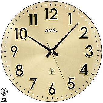 AMS 5974 parete radio sveglia radiocontrollato colori della parete orologio analogico in ottone dorati con vetro