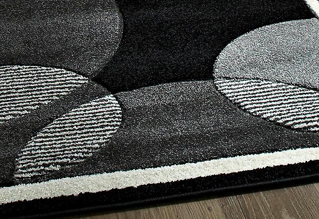Art Twist T440 Grey Circular patterned rug in a contrasting ivory, grey and black Rectangle Rugs Modern Rugs