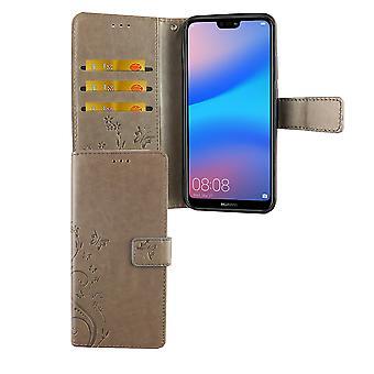 Capa de bolsa caso móvel Huawei P20 Lite Flip cinza caso compartimento