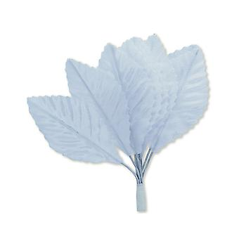 SALE -  144 Satin Fabric Leaf for Floristry Crafts - White
