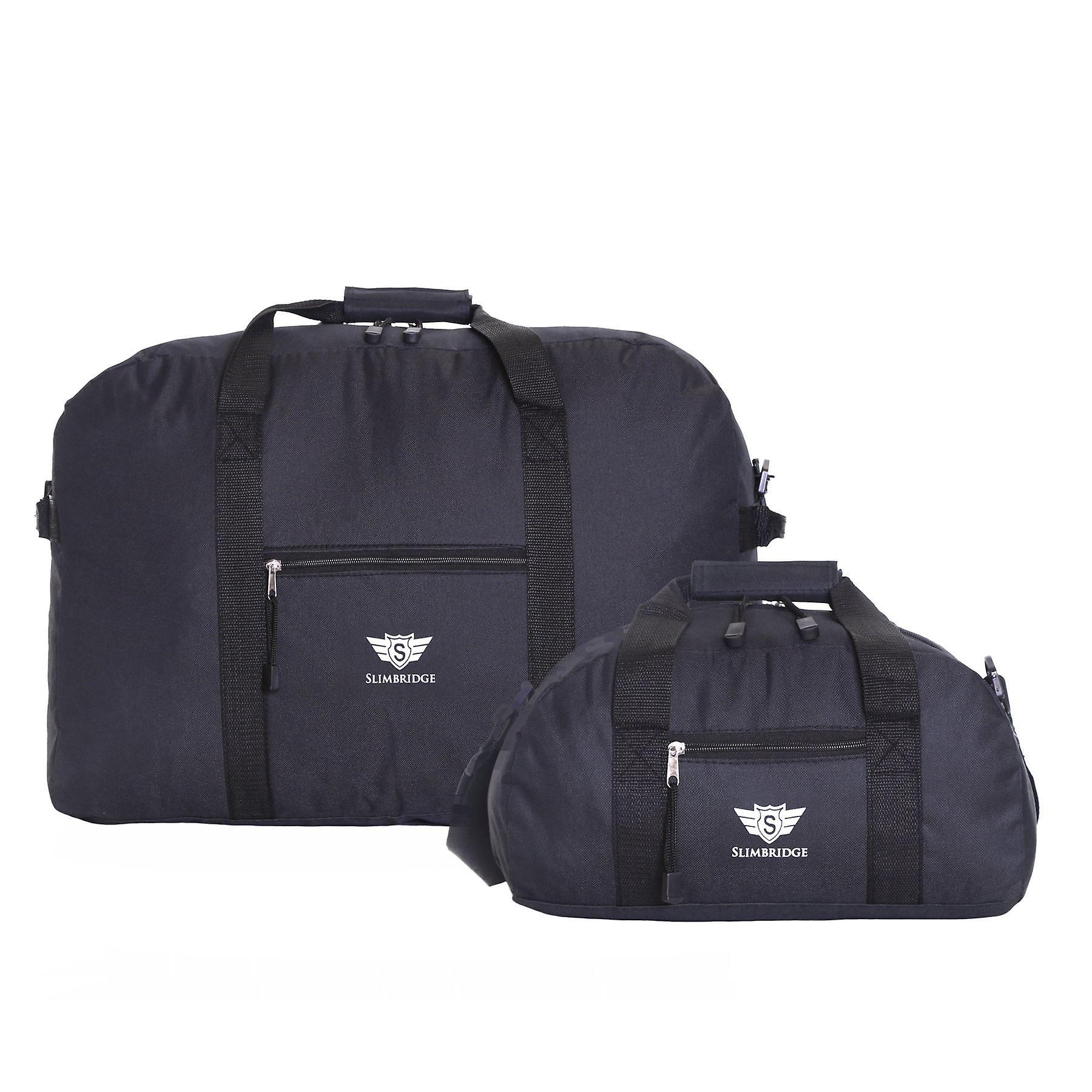 Slimbridge Ryanair Set of 2 Cabin Bags, Black 55 x 40 x 20 cm and 35 x 20 x 20 cm