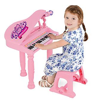 Girls Kids Musical Piano Pink Electronic Keyboard Toy With Microphone Stool MP3