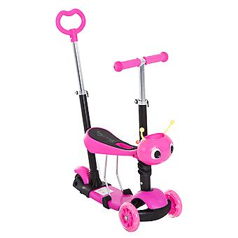HOMCOM 5-in-1 Kids Baby Toddler Kick Scooter Ride-on Walker Removable Seat Height Adjustable Pink