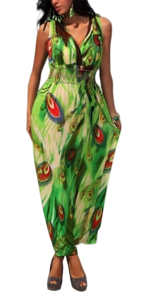 Waooh - Feather printed long dress Peacock Eder