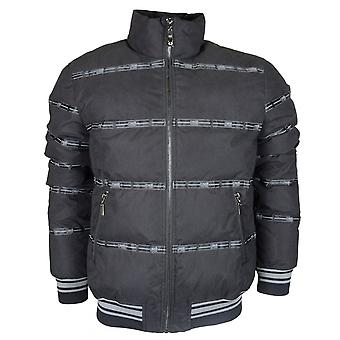 Cavalli Class Nylon Allover Logo Quilted Matt Black Jacket