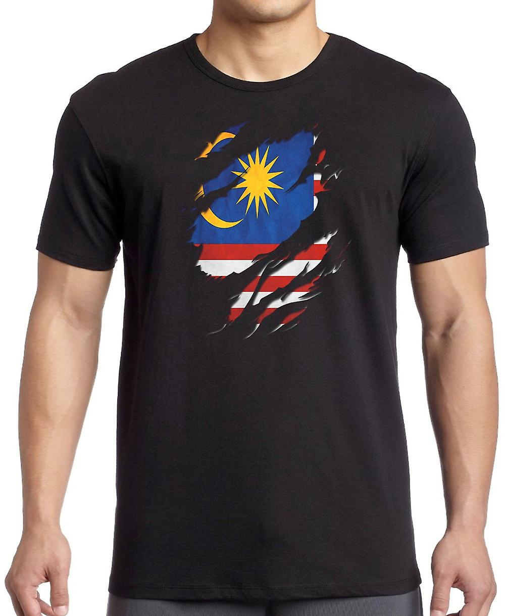 Malaysian Grunge Flag Ripped Effect T Shirt  - 5xl
