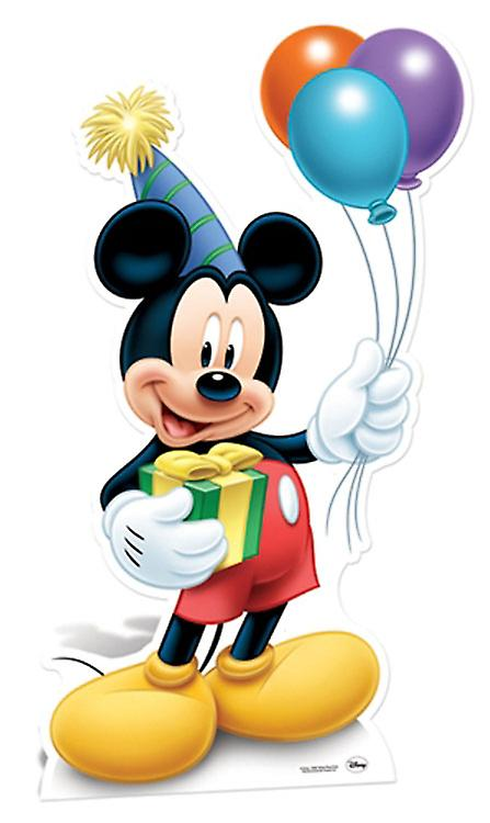 Mickey Mouse Wearing Party Hat and Holding Balloons Lifesize Cardboard Cutout / Standee
