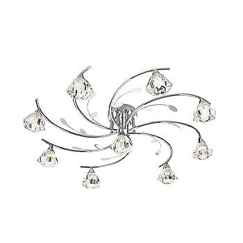 Searchlight 2639-9CC Sierra 9 Light Semi Flush Ceiling Light In Chrome
