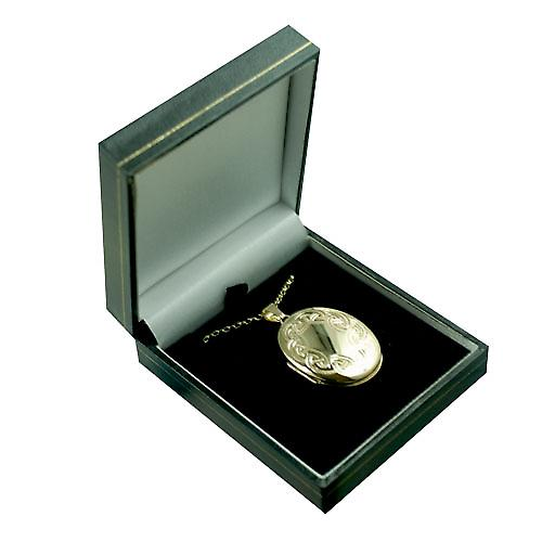 9ct Gold 35x26mm Celtic hand engraved oval Locket with a belcher Chain 16 inches Only Suitable for Children
