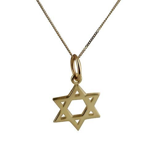 9ct Gold 12mm plain Star of David Pendant with a curb Chain 18 inches