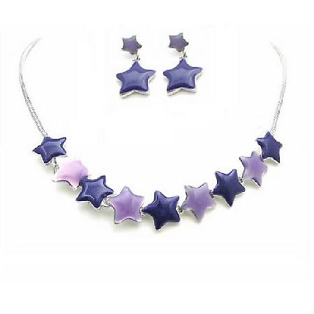 Birthday Gift Jewelry Set Affordable Stars Pendant & Earrings Set