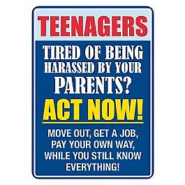 Teenagers, Act Now..  small metal sign    (fd 3022)