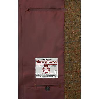 Harris Tweed Mens Rust Windowpane Check Tweed Jacket Regular Fit 100% Wool Notch Lapel
