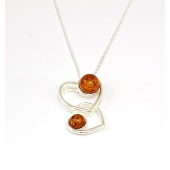 Toc Sterling Silver Amber Double Heart Pendant on 18 Inch Chain