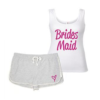 Brides Maid grå och vit Pyjamas