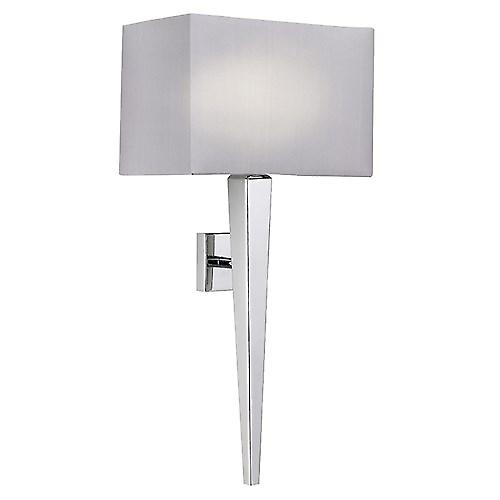 Endon MORETO-1WBCH Moreto Modern Chrome Wall Light With Grey Faux Silk Shade