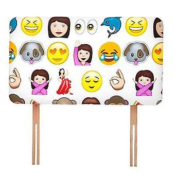 Kinder-Emoji-Print Single Divan Bed Upholstered Foam Headboard