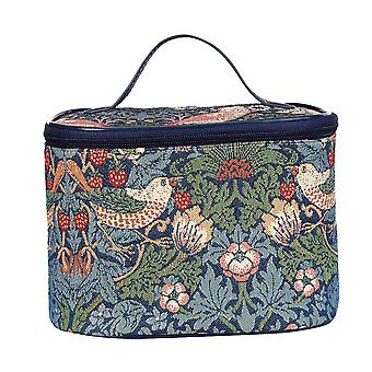 William morris - strawberry thief blue makeup bag by signare tapestry / toil-stbl