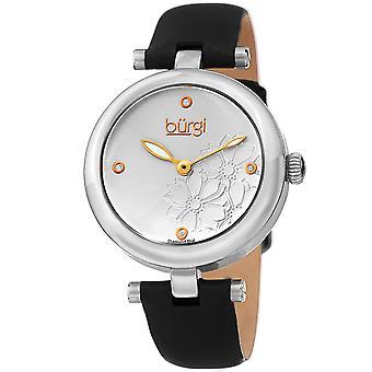 Burgi Women's Diamond Accented Flower Dial Watch - Comfortable Leather Strap BUR197SSB