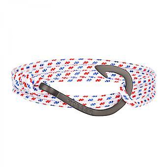 Holler Kirby  Black Sandblasted Hook / White, Blue and Red Paracord Bracelet HLB-03BKS-P01