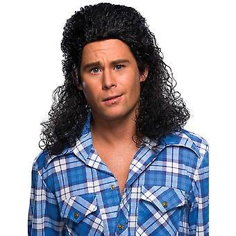 Perm Mullet Black 80s 70s Redneck Costume Men Wig
