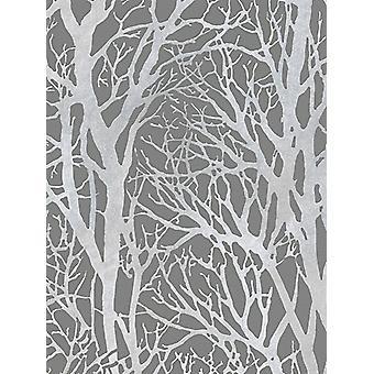 Träd grenar tapet mörkgrå och silver som Creation 30094-3