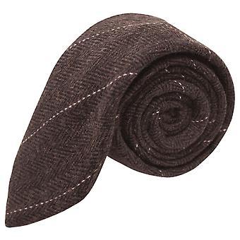 Luxury Herringbone Chocolate Brown Tie