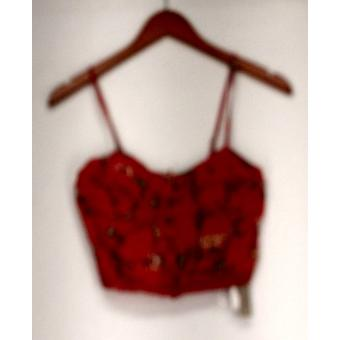 Billabong Top Printed Embellished Button Down Cropped Camisole Orange