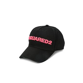 DSQUARED2 FUCHSIA LOGO BLACK BASEBALL CAP